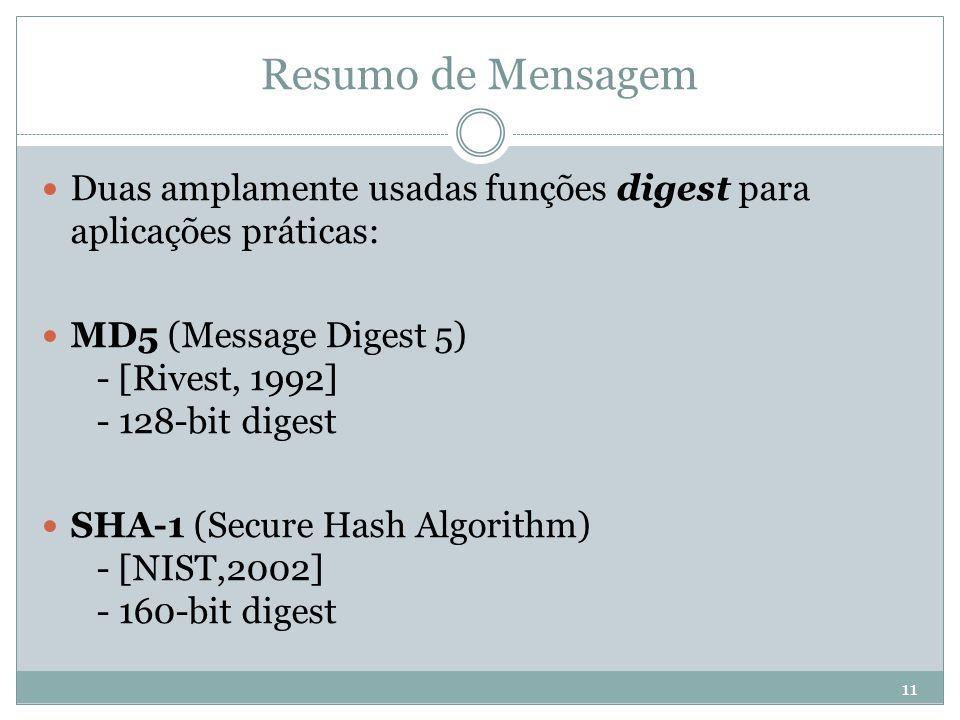 Resumo de Mensagem Duas amplamente usadas funções digest para aplicações práticas: MD5 (Message Digest 5) - [Rivest, 1992] - 128-bit digest.